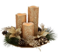 Set of 3 Flameless Candles with Charger and Ring by Valerie