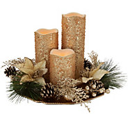 Set of 3 Flameless Candles with Charger & Ring by Valerie - H208768