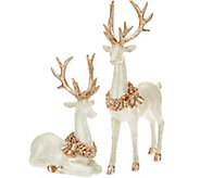 Set of 2 Glittered Vintage Reindeer by Valerie - H208968