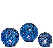 As Is S/3 Illuminated Vintage Glass Quilted Spheres by Valerie - H209168