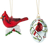 As Is Joan Rivers 2105 Set of 2 Cardinal Ornaments - H210168