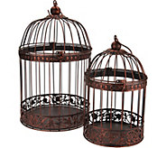 Set of 2 Nested Wrought Iron Birdcages with Hanger - H210868