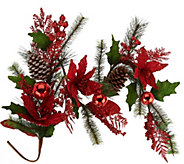 As Is 4 Poinsettia, Ball and Cone Garland by Valerie - H210968
