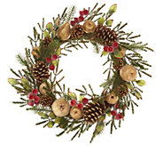 24 Golden Glittered Beaded Fruit & Pinecone Wreath w/Rose Hips - H211868
