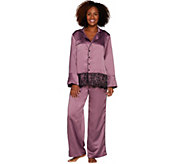 Casa Zeta-Jones Faux Silk Pajama Set with Lace Trim and Gift Box - H213868