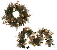 Casa Zeta-Jones Prelit 24 Holiday Wreath or Matching 6 Prelit Garland - H213968