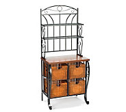 Scrolled Accent Black Bakers Rack with Baskets - H160969