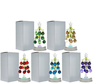 Kringle Express Set of 5 Glass Trees with Ornaments in Gift Boxes - H208469