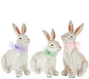 Set of 3 Sugared Bunnies with Ribbons - H210869