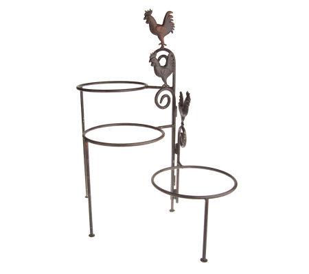 Decorative 3 Tier Rustic Metal Rooster Flower Pot Holder