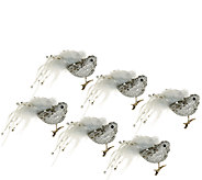 Set of 6 Glitter and Sequin Bird Ornaments with Clip by Valerie - H203470