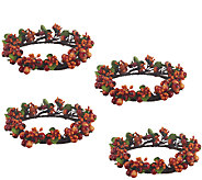 4 Piece Autumn Berry and Boxwood Candle Rings by Valerie - H203770