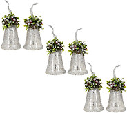 Set of 6 Vintage Bells with Holly and Ribbon by Valerie - H205370