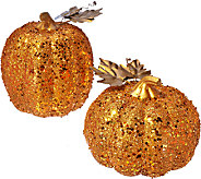Set of 2 Sequined Graduated Pumpkins by HomeReflections - H205570