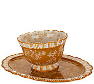 Temp-tations Floral Lace 2 qt. Bowl with Platter - H206170