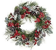 24 Wreath with Berries, Holly Leaves, and Pinecones by Valerie - H212570