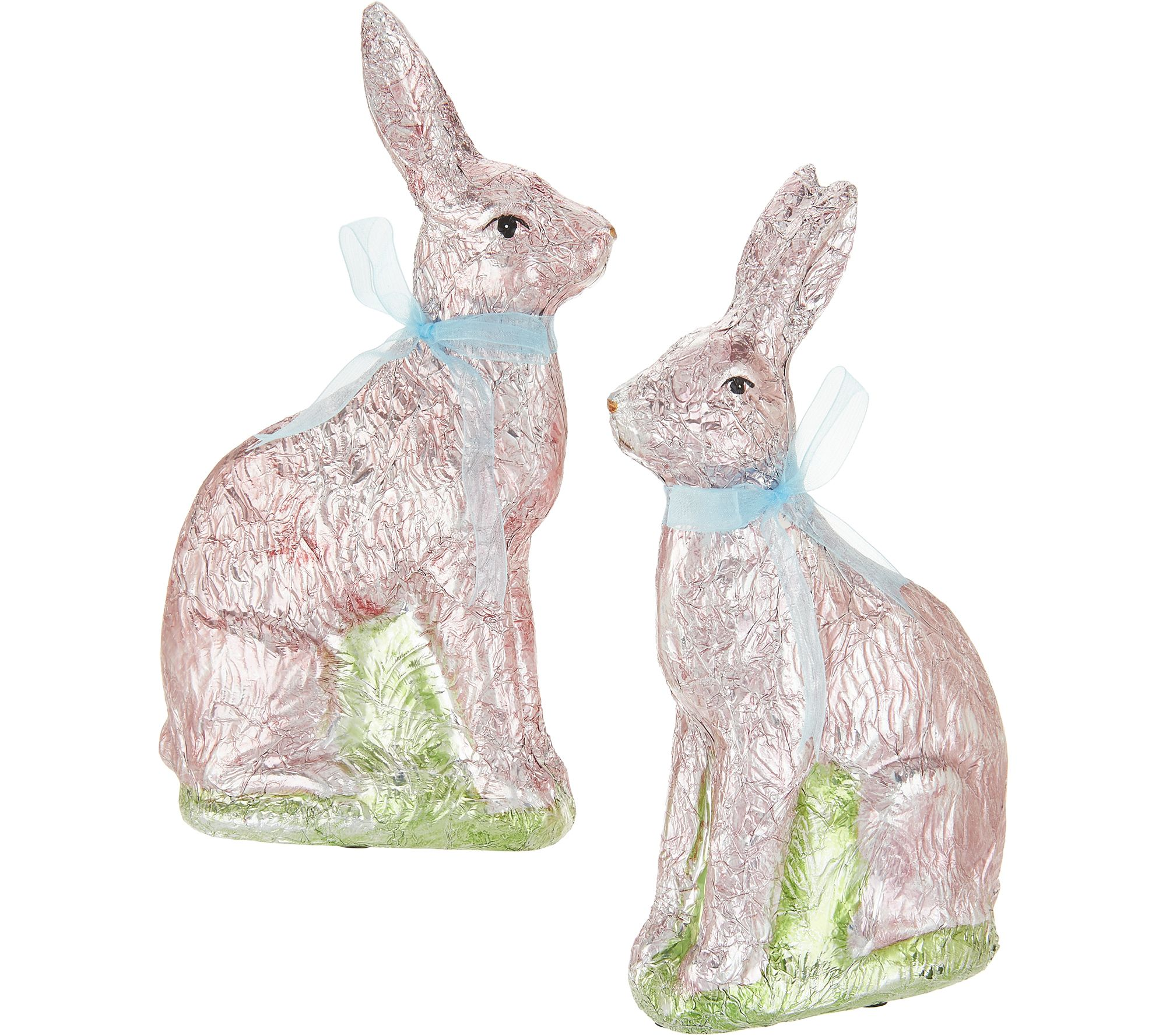 Spring easter dcor qvc set of 2 9 foil wrapped bunnies by valerie h213770 negle Choice Image