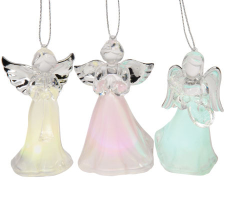 Mr. Christmas S/3 Morphing Acrylic Angel Ornaments with LED Lights