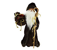 18 Victorian Father Christmas Figure with Faux Fur Trim - H200771