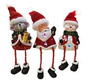 Kringle Express Set of 3 Battery Op. Ceramic Holiday Friends - H203271