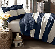 Berlin Stripe Navy 3-Piece Full/Queen Quilt Set by Lush Decor - H287271