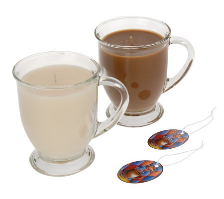 Set Of 2 12oz Glass Mugs Soy Candles By Valerie H03172