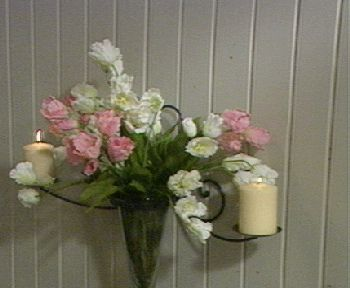 Wrought Iron Decorative Wall Sconce w/ Glass Vase QVC.com