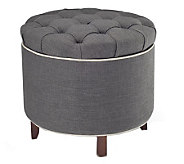 Tufted Fabric Storage Ottoman with Reversible Tray Top - H183572
