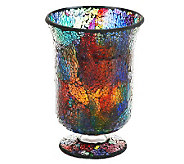 Lit Mosaic Hurricane with Flameless Candle Pillar by Valerie - H197272