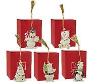 Lenox Set of 5 Porcelain Ornaments with 24K Gold Accents & Boxes - H205272