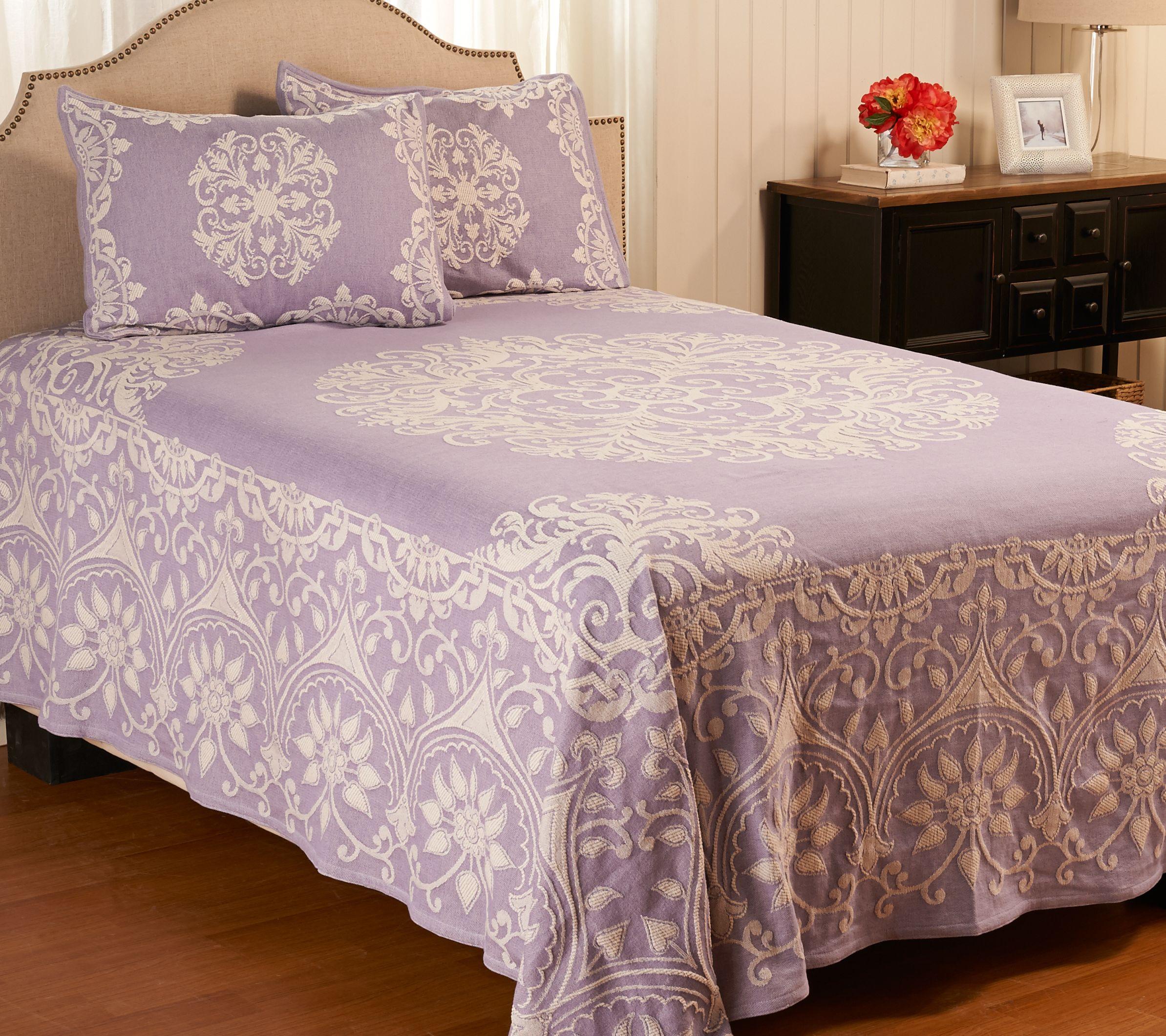 Light blue zebra print bedding - Medallion Jacquard 100 Cotton Qn Bedspread With Shams H207672