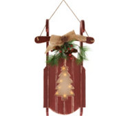 Plow and Hearth Wooden Sled w/ Lit Holographic Cut Out Design