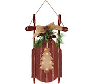 Plow and Hearth Wooden Sled w/ Illuminated Holographic Cut Out Design - H208472