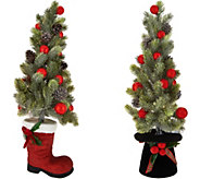 Choice of Illuminated Tree in Boot or Snowman Hat by Valerie - H212772