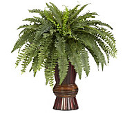 Boston Fern with Bamboo Vase Plant by Nearly Natural - H357372
