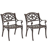 Home Styles Cast-Aluminum Outdoor Armchairs - Set of 2 - H176573
