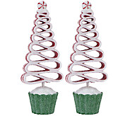 Set of 2 Cupcake Peppermint Candy Trees by Valerie - H203373