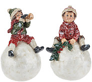 Set of 2 Kids Sitting on Snowballs by Valerie - H205373