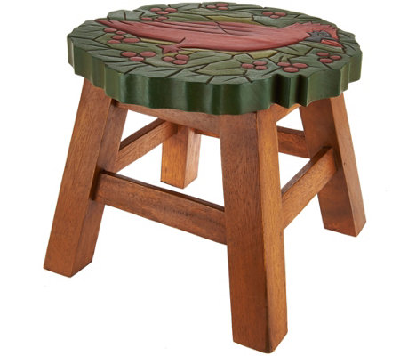 Plow And Hearth Wooden Carved Holiday Stool Qvc Com