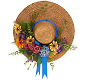 Decorative Straw Hat with Flowers by Valerie - H211173