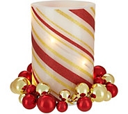 Lightscapes Swirl Striped Flameless Candle with Ornament Ring - H211473