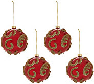 Set of 4 Glass Ball Ornaments with Beading by Valerie - H211673