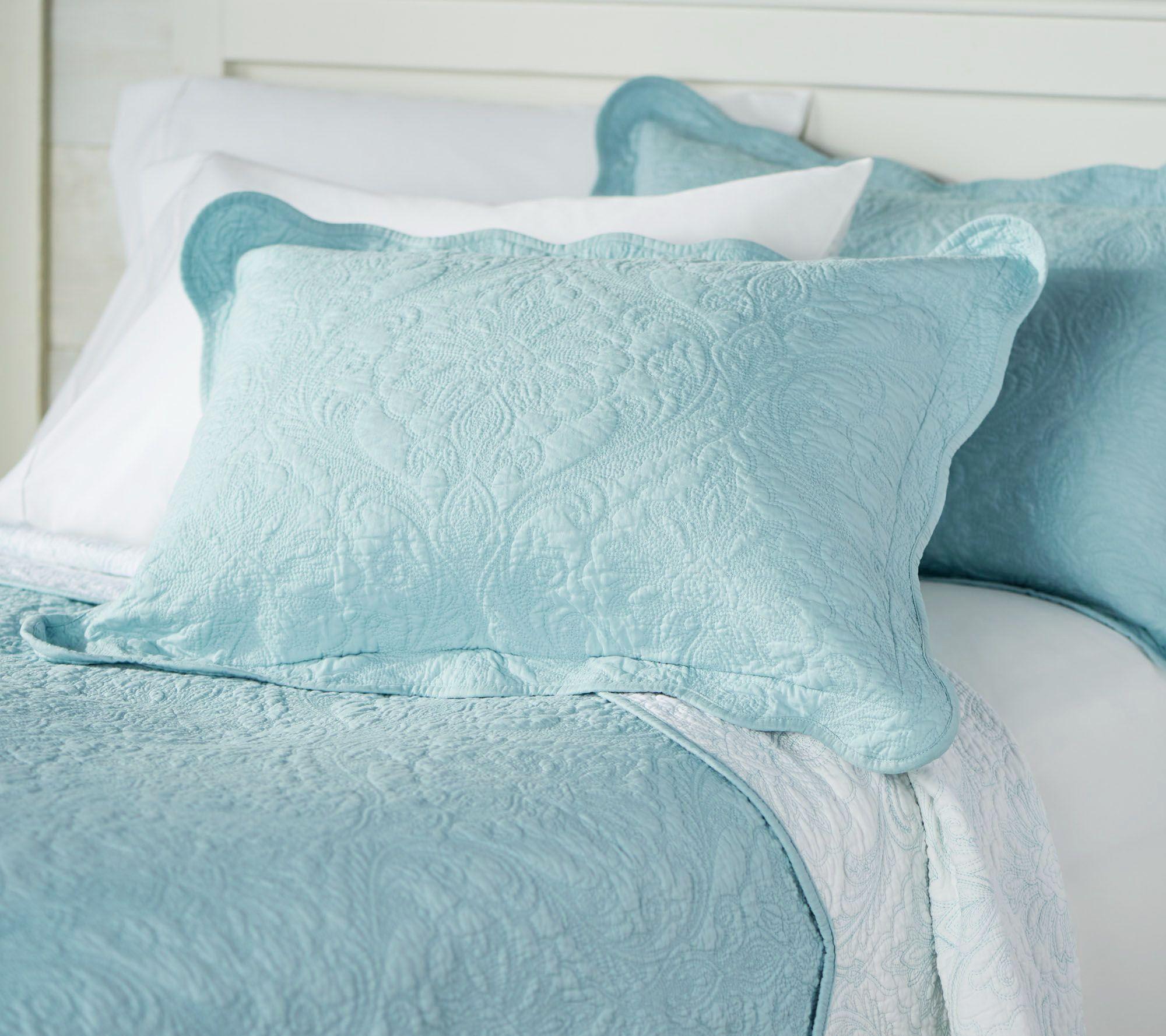 Casa Zeta Jones Reversible Twin Cotton Coverlet Set W Scalloped Edge