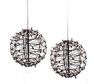 As Is Set of 2 Pre Lit Fold Flat Spheres w/100 Lights by Lori Greiner - H205274