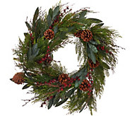 ED On Air 24 Bay Leaf Wreath with Berries by Ellen DeGeneres - H206274