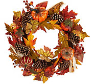 24 Beaded Pumpkin, Corn, and Pinecone Wreath - H212674