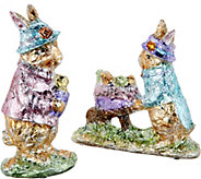 2-Piece Foil Wrapped Bunnies with Hats by Valerie - H213774