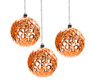 Exhart Set of 3 Medium Diamond Orb Hanging Ornament - H285574