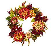 22 Dahlia & Mum Wreath by Nearly Natural - H289674