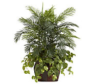 3-1/2 Double Areca with Vase & Pothos Plant byNearly Natural - H357374